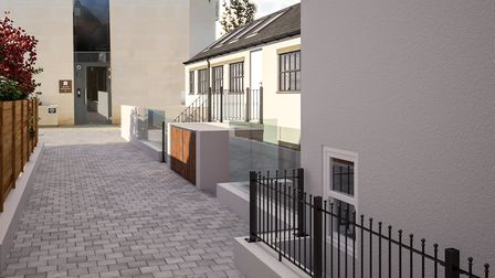 CGI of Alma Mews, which benefits from access to Gabriel Square's private outside space. Picture: Cla
