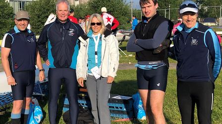 The St Neots Rowing Club coxed quad are, from the left, Kieron Marriner, Karl Zwetsloot, Debra Helle