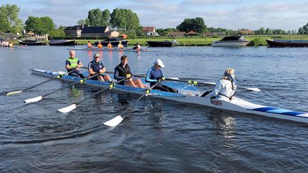 The St Neots Rowing Club coxed quad during the Ringvaart 100km event in Holland. Picture: SUBMITTED