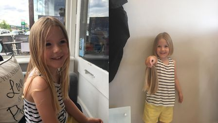 Emily Wyeth had eight inches of her hair cut off for the Little Princess Trust. Picture: Susie Wyeth