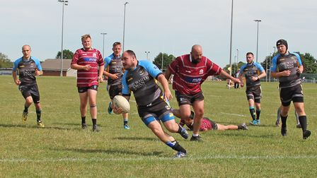 St Albans Centurions' Scott Clelow crosses the line for the second try of the day. Picture: DARRYL B