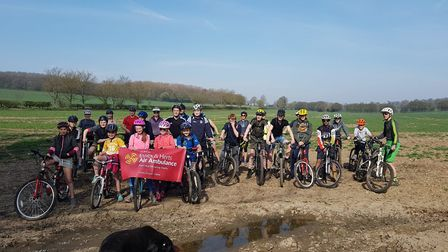 St Albans young farmers on their charity bike ride.