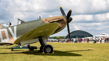 A Spitfire lines up on the airfield at the 2019 Duxford Air Festival at IWM Duxford. Picture: IWM