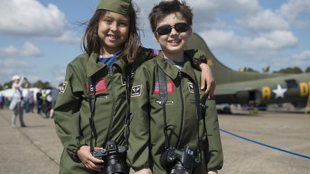 Young visitors playing dress up at 2019's Duxford Air Festival at IWM Duxford. Picture: IWM