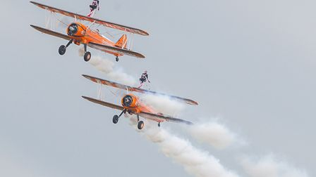 Boeing PT-17 Stearman wingwalkers at the Duxford Air Festival 2019. Picture: Gerry Weatherhead