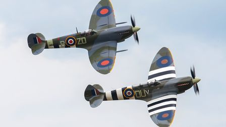 Spitfires flying at the Daks Over Duxford event at IWM Duxford. Picture: Gerry Weatherhead