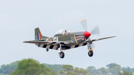 P-51 Mustang lands after a superb display at the Daks Over Duxford event at IWM Duxford. Picture: Ge