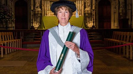 Lady Verulam recieving her honorary degree. Picture: Greg McClamon