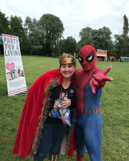 Kerry Maccuaig with a Spiderman character at the Huntingdon Riverside Festival