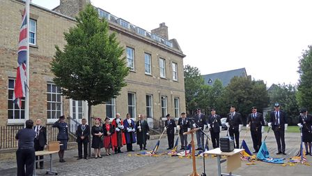 A flag raising ceremony took place at Pathfinder House in Huntingdon
