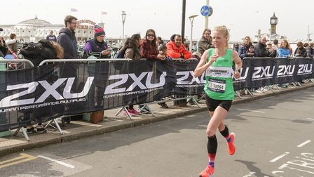 Jo O'Regan pictured during the Brighton Marathon. Picture: SUBMITTED