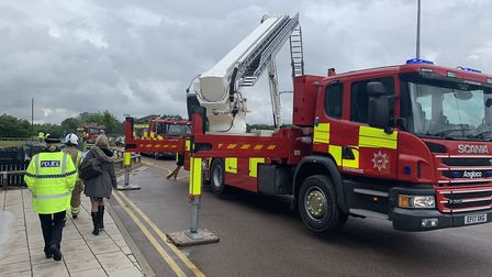 Firefighters tackled a large-scale blaze at Oaklands College in St Albans. Picture: Herts Fire and R