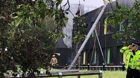 The discovery centre caught fire at Oaklands College campus in St Albans. Picture: Supplied