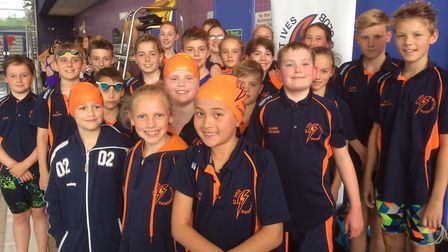 The successful St Ives swimmers following their Junior Fenland League victory. Picture: SUBMITTED
