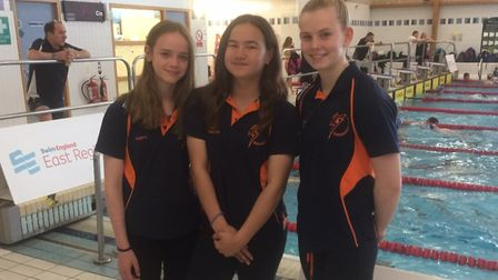 Olivia Smith, Anna Freeman and Ciara Taylor of St Ives Swimming Club at the East Region Junior Champ