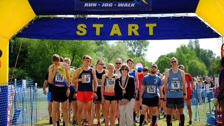 St Albans mayor Cllr Janet Smith at the start of the St Albans Half Marathon. Picture: Greg Toth