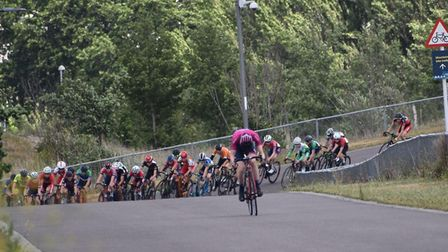 Verulam Reallymoving's Jamie Maxen leads the field out on his way to victory at Lee Valley.