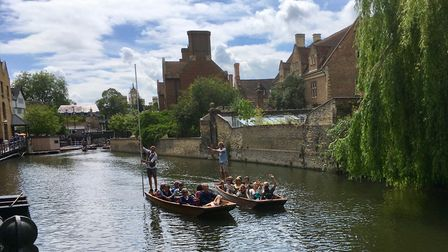 French visitors prepare to set off along the Cam. Picture: Clare Davies and Alix Cooper
