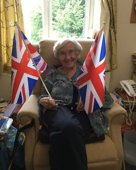 Edna with her union jack flags.