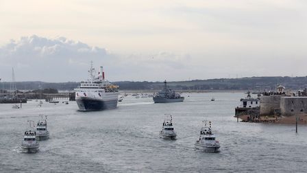 HMS St Albans led the ship Boudicca from Portsmouth to Normandy to mark the 75th anniversary of D-Da