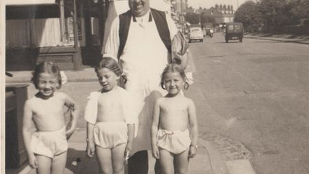The Carolines in 1953/4 with their grandfather. Picture: Submitted