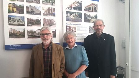 Exhibition organiser Geoff Dyson, Cllr Anthony Rowlands and Prof Tim Boatswain at the opening of the
