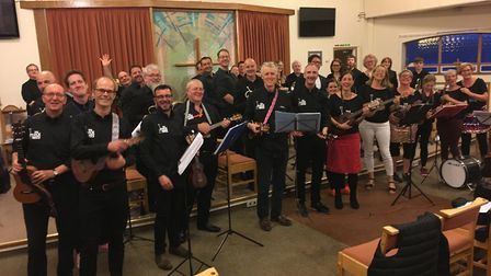 The Pluckwits ukelele band took part in a joint charity concert with St Albans City Brass Band. Pict