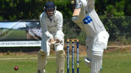 Eaton Socon captain Jonny Carpenter at the crease during their victory against Foxton earlier this s