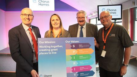 From left: Nigel Finney, Chorus Homes managing director; Coral Dodge, neighbourhood warden, Mike For