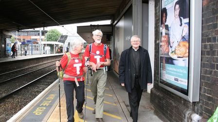 Puppets of St Alban and St Amphibalus travelled from St Albans City station to City Thameslink as pa