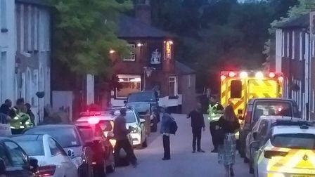 Police and ambulance parked near the incident in St Albans. Picture: Chris Telford
