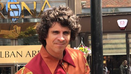 Andy Day from CBeebies outside the Arena, St Albans