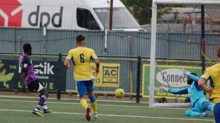 New St Albans City signing Bobson Bawling has this goal ruled out for offside. Picture: DAVE TAVENER
