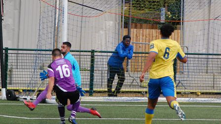 Former Hungerford Town winger Darren Foxley has a shot saved as St Albans City won at Haringey Borou