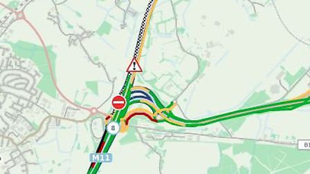 The M11 has been closed after a car crash. Picture: Highways England