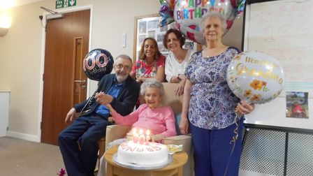 Bessie Browne celebrates her 100th birthday at The Hillings