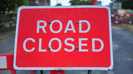 The A1 is closed due to a burst water main.