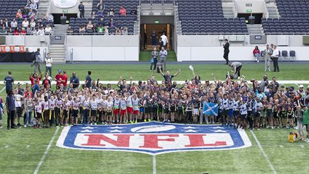 The teams who took part in the NFL Flag Championships finals at Tottenham Hotspur Stadium. Picture: