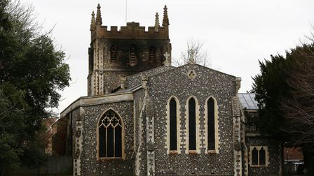 Evidence of the fire damage at Royston St John the Baptist Church, Melbourn Street after a fire insi