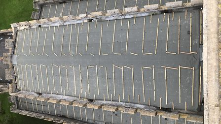 The temporary roof of St Mary's Church in Whaddon. Picture: St Mary's Whaddon
