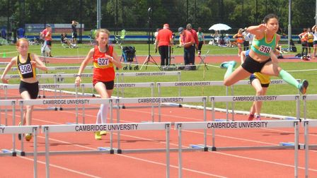 Moria Howard of Hunts AC (right) on her way to victory at the Eastern Counties Championships. Pictur