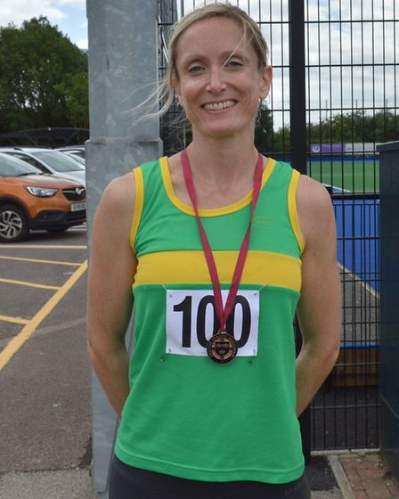 Jo Abel won two medals and set a new Hunts AC club record at the Eastern Counties Championships. Pic