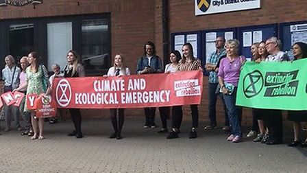 Sustainable St Albans and St Albans Extinction Rebellion protested outside St Albans Civic Centre ye
