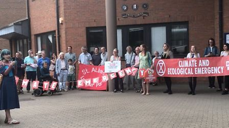 Members of Sustainable St Albans and St Albans Friends of the Earth protested outside the civic cent