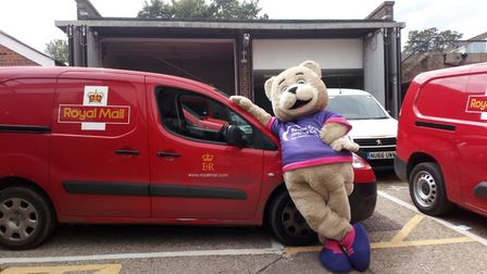 The Rennie Grove Bear visited Royal Mail as part of Origin Charity Week. Picture: Origin Global