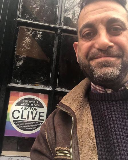 Publicans with their Ask for Clive stickers. Picture: Danny Clare