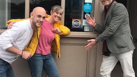 Left to right: The Peacock manager Sean Dutton, prospective Parliamentary candidate Daisy Cooper, an