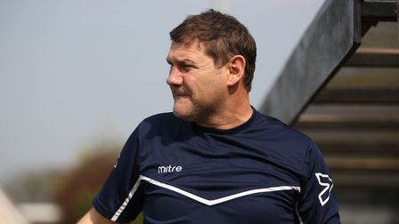 Royston Town manager Steve Castle on the touchline in the game between Royston Town v Biggleswade To