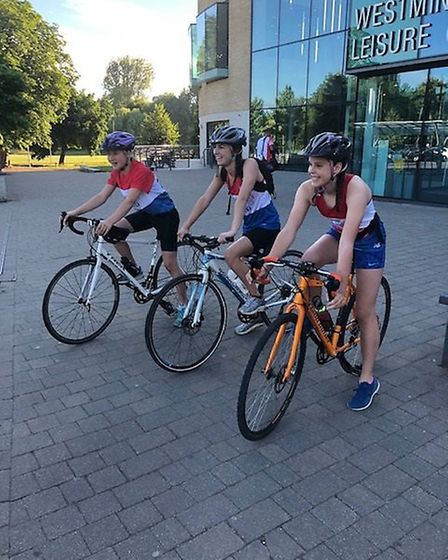 St Albans teenagers Cara Threader, Francesca Paganuzzi and Sara Laitner took part in their own Ironm