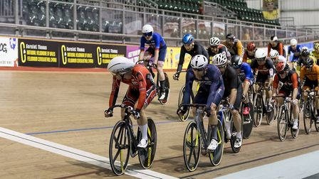 Jason Kierman leads the way at the British Masters National Track Championships. Picture: AMW PHOTOG